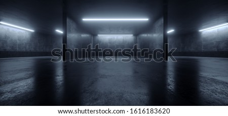 Car Parking Sci Fi Lightning Laser Led Grunge Modern Futuristic Cement Concrete Grunge Wide Huge Warehouse Garage Tunnel Room Underground 3D Rendering Illustration