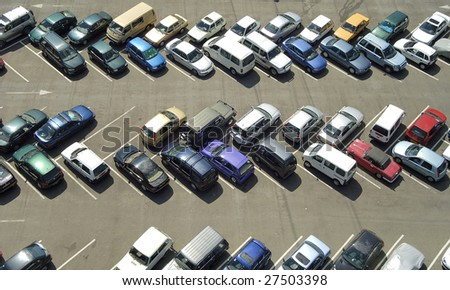 Car parking seen from above in bird view