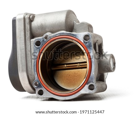 car part engine throttle valve opened by the gas pedal to supply more air to the engine. spare parts catalog for vehicles from the junkyard. Foto stock ©