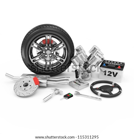 Car Parts isolated on white background. (Animation for this image see in my footage gallery)