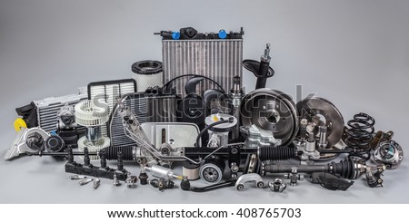 car parts on a gray background #408765703