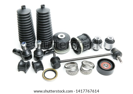 car parts on a white background. car chassis details