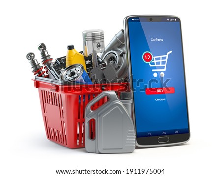 Car parts, spares and accesoires in shopping basket and smartphone isolated in white. Online purchasing and delivery of car spare concept. 3d illustration Foto d'archivio ©