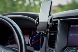 car phone holder in car interior