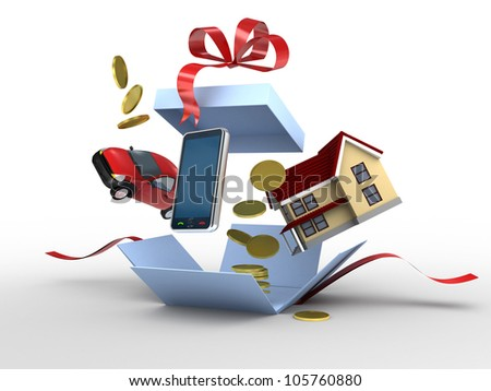 car, phone, house and money as a gift