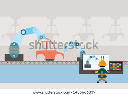 Car Production Conveyor Automatic Assembly Line Machinery Industrial Automation .Industrial illustration, industrial factory