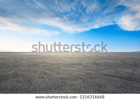 Car racing track square and sky beautiful cloud scenery