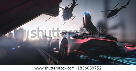 Car racing with police helicopter chase, moving towards city - street race concept (non-existent car design, full generic) - 3d illustration, 3d render