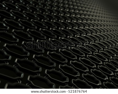 Car radiator grille close-up background texture. Wavy Pattern, Metallic Chrome Aluminium Material and Reflections. 3d rendering, 3d illustration