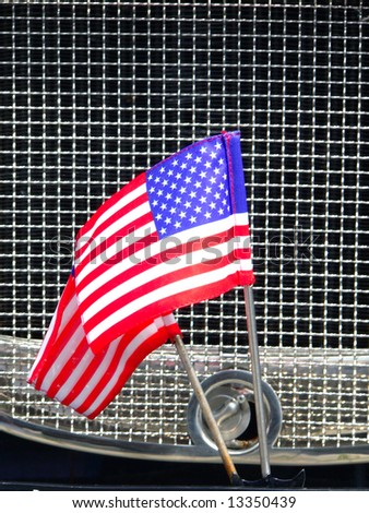 Car radiator with american flags
