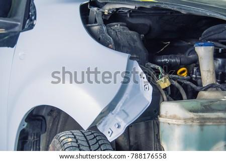 Car ready to repair paint a part in the car shop. #788176558