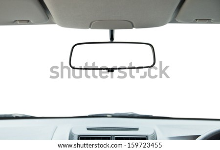 Car rear view mirror isolated on white