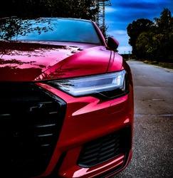 Car red audi sportscar carrace