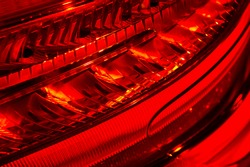 Car red headlight, abstract detail of sedan rear light equipment, automobile industry, selective focus