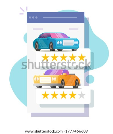 Car review rating online on mobile web screen or automobile testimonial feedback page, customer reputation internet shop flat ico n, vehicle rental shop rank or auto access template image Foto stock ©
