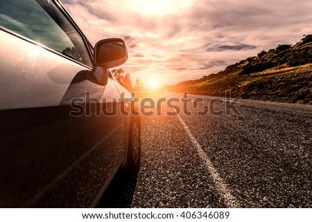 "stock photo car ride on road in sunny weather motion blur 406346089 - Каталог - Фотообои ""Автомобили"""