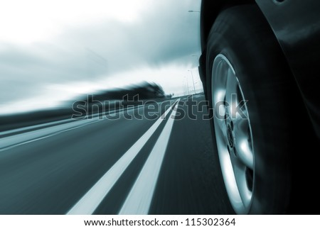 Car ride on road - motion blur
