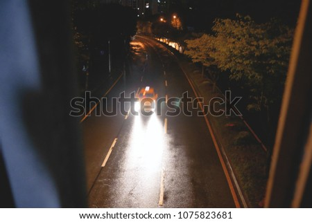 car rushing at night #1075823681
