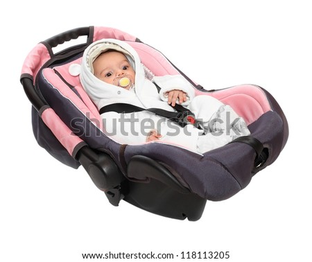 Car safety seat with little baby. Health protection and insurance concept. - stock photo
