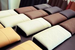 car seat fabric catalog set at auto showroom