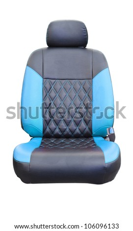 Car seats blue leather isolated on white with clipping path