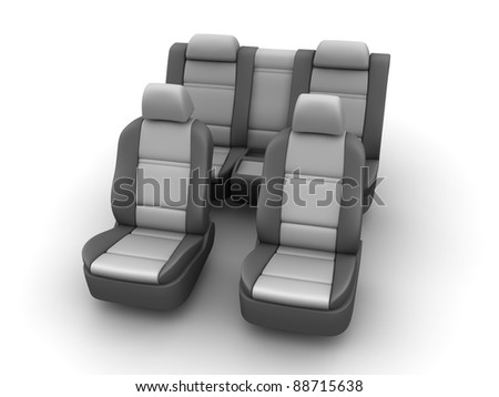 Car seats. Grey colors. 3d render.