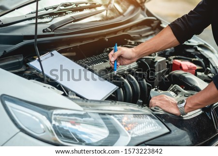 Car service / checklist when checking the technical condition of the car in the car service / excellent Photo stock ©