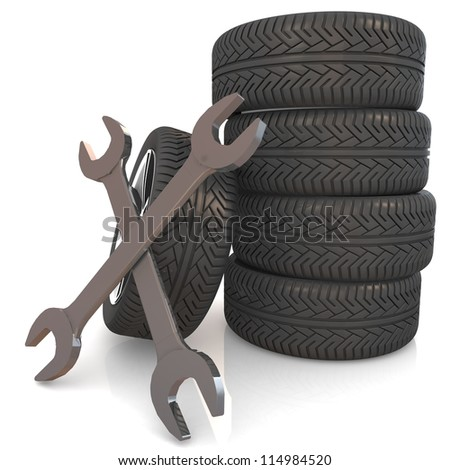 Car service concept. Wheel and Tools. Isolated 3D image