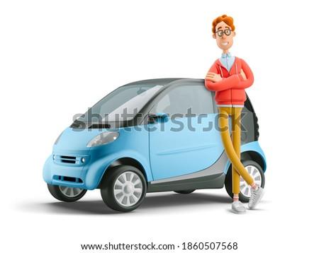 Car sharing concept. Nerd Larry with smart car. 3d illustration.