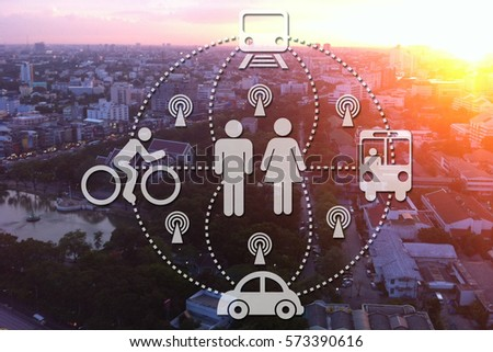 car sharing High angle traffic system as the sun is falling
