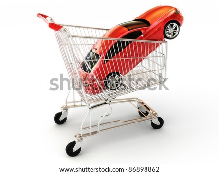 Car shopping, red luxury sports car in a shopping basket. Part of a series