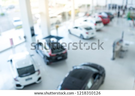 car showroom blur for background View from top