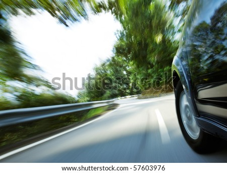 car speeding with heart shape copy space beside