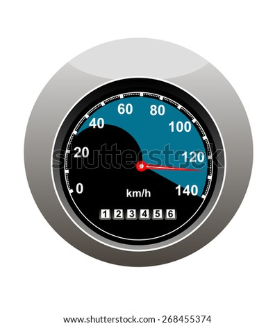 Car speedometer showing someone speeding at 130 kilimotres per hour and a high mileage over 123000 kilometres, isolated on white Foto stock ©