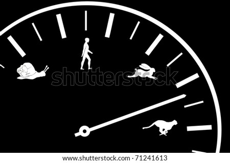 Car speedometer shows speed with animal and human icons