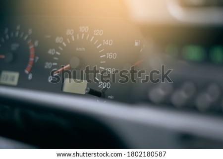 Car speedometer, speed level background Foto stock ©