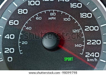 Car speedometer with blurred needle