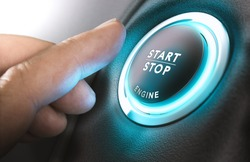 Car start stop system with finger pressing the button, horizontal image