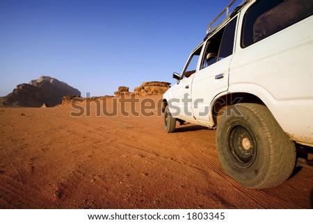 car stopped in the desert