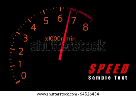 Car Tachometer reaching the red zone with copy space - stock photo