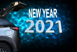 Car tail light red color with 2021 on black background for customers. for transport or automotive automobile industrial and happy new year 2021 image.