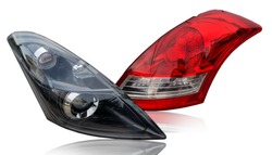Car tail lights that are separate from the background scene