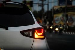 Car taillight at night