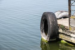 Car tire berth at the ship's stop