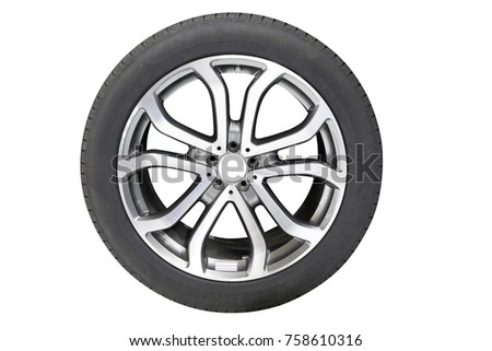 car tire isolated on white background #758610316