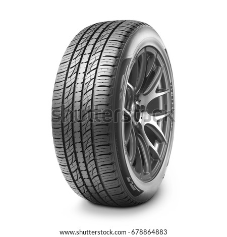 Car Tire Isolated on White Background. Car Wheel. Semi-Trailer Truck Tire. Tractor Tire. Black Rubber Truck Tire. Clipping Path #678864883