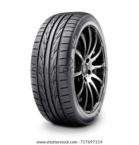 Car Tire Isolated on White Background. Semi-Trailer Rim. Racing Wheel. Black Rubber Truck Tyre. Clipping Path - Shutterstock ID 717697114