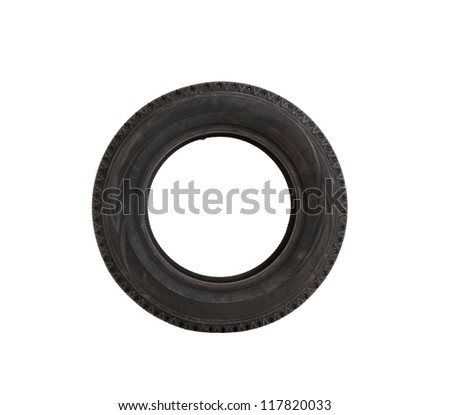 car tire on white background, cut out