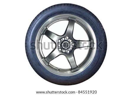 Car tire with rim on a white background
