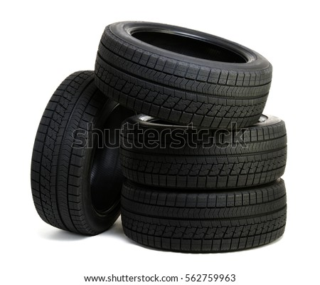 Car tires isolated on white #562759963